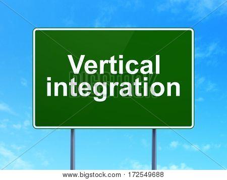 Finance concept: Vertical Integration on green road highway sign, clear blue sky background, 3D rendering