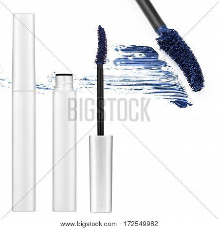 brown mascara, false eyelashes, isolated on white background