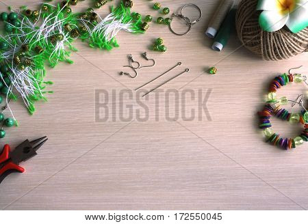 handmade accessories making tools on wooden table