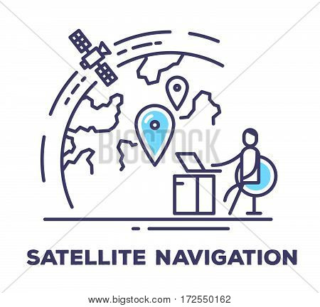 Vector Business Illustration Of A Man Sitting In A Chair Next To The Large Screen With Planet On Whi