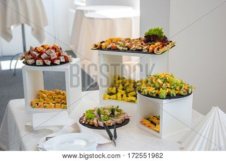 Corporate table. Catering food. Buffet table. A fine buffet