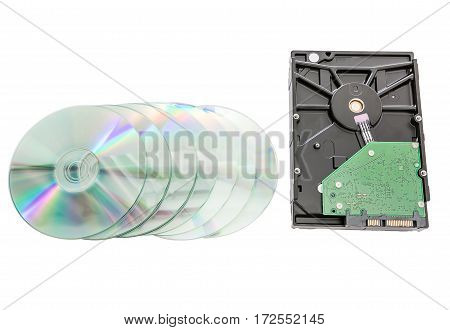 Hard disk drive (HDD) with circuit board and dvd discs on white background