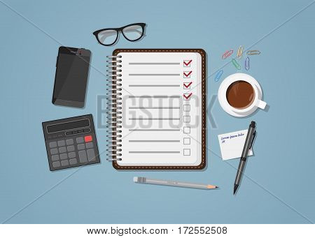 Flat realistic business checklist and planning concept. Office objects paper with list and checkmark. Coffee cup and mobile phone with glasses. Workspace calculation and managment illustration.