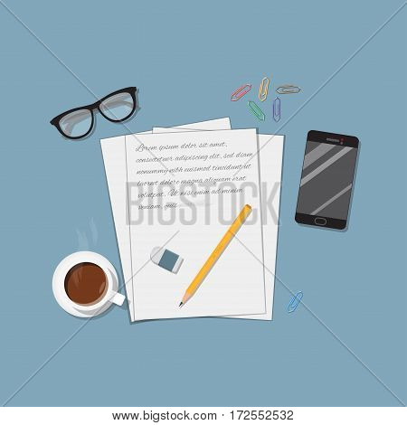 Flat realistic business writing concept. Office objects a4 paper letter and pencil with eraser. Coffee cup and mobile phone. Workspace brainstorm illustration.