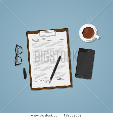 Flat realistic business agreement concept. Office objects paper with notepad and ink fountain pen. Coffee cup and mobile phone with glasses. Workspace brainstorm illustration.