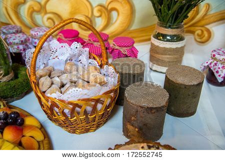 Sweet table. Catering food. Buffet table. A fine buffet