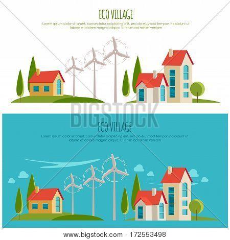 Eco friendly urban landscape. Alternative energy. Wind power for your design