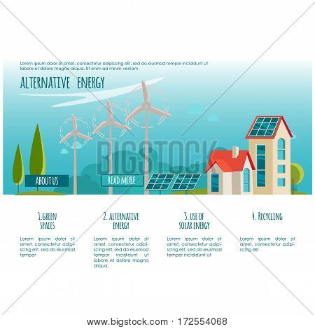 Ecology city. Alternative energy. Solar, wind power. Web page concept for your design