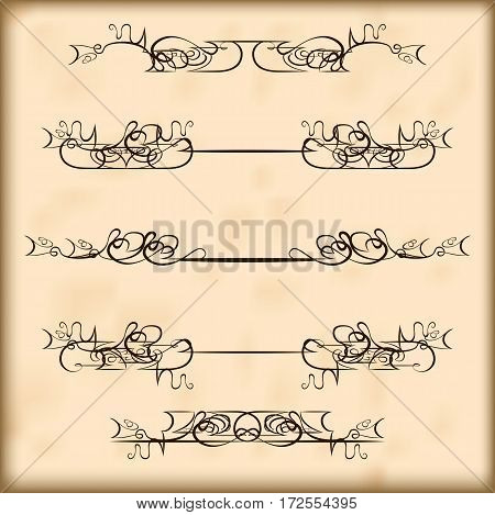 Decorative calligraphic elements and headers set. For retro design and embellishments poster