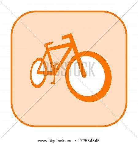 Bicycle orange icon isolated on white background