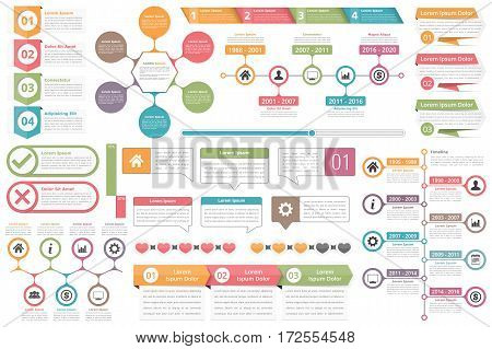 Infographic elements - objects with numbers amd text, timeline, check and cross symbols, circle diagram, speech bubbles, process charts, vector eps10 illustration