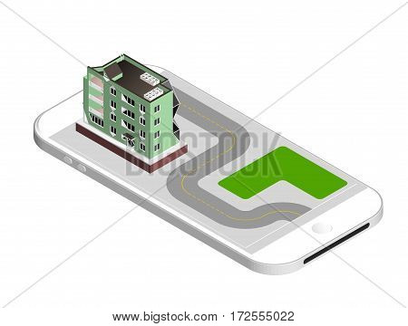 Vector illustration isolated on white background. Isometric icon representing modern house. Urban dwelling Building with a windows and air-conditioning.