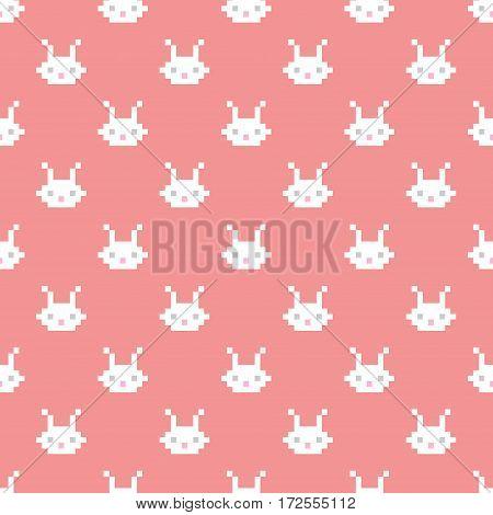 Pixel rabbit head. Seamless vector pattern. Cartoon style