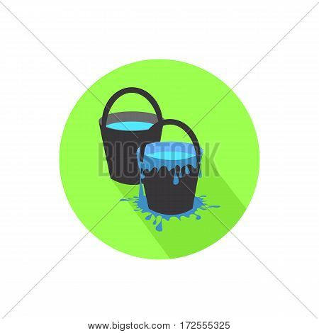 Icon Two Buckets On Isolated White Background