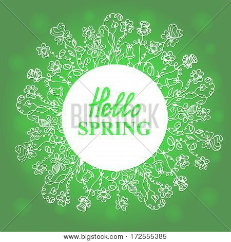 Hello Spring. Floral doodles wreath. Concept design for a seasonal sale, greeting cards, stickers, invitations