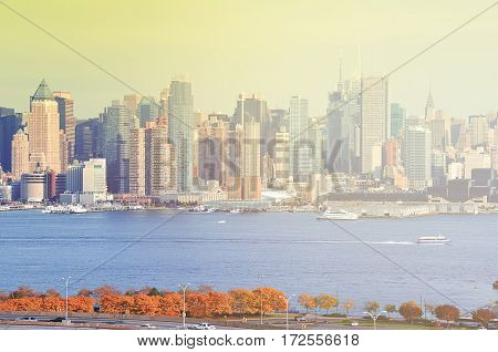 New York City Skyline Cityscape Landmark. Famous Nyc Skyline Over The Hudson River.