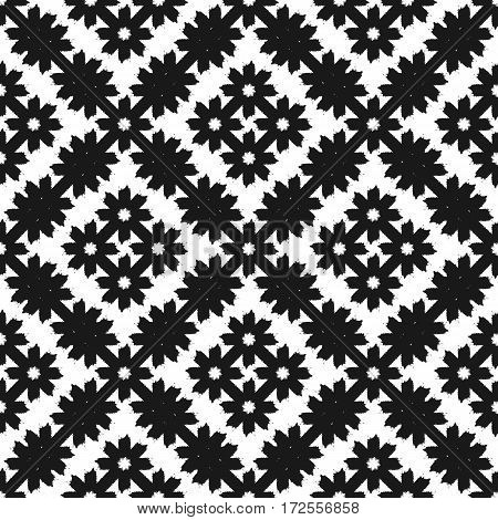 Repeated grunge ornament. Rhombs composed of abstract flowers. Drawn rough brush. Vector illustration. Black white.
