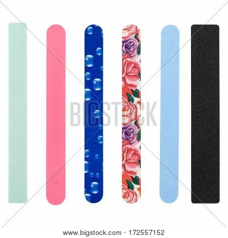 nail file, of different colors on isolated white background