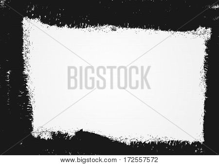 Grunge background with a damaged frame. Drawn by rough brush. Vector illustration. Black gray white.