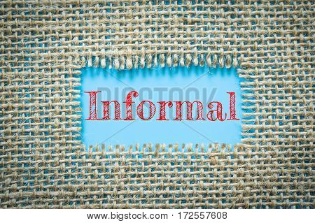 Text Informal on paper blue has Cotton yarn background you can apply to your product.
