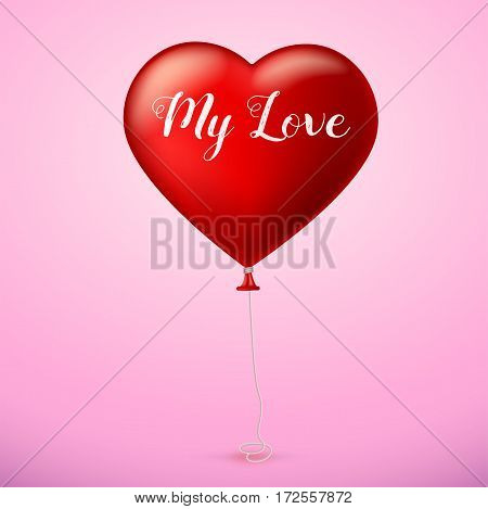 Bright red heart, the inflatable balloon in the shape of a realistic, big heart on colored background.