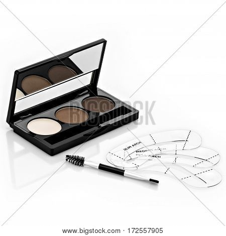 Brown eye shadow eyebrows, stencils, brushes for eyebrows, isolated on white background