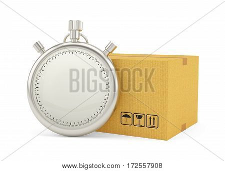 Stopwatch with Cardboard Box on White Background. 3D Rendering. Stopwatch with empty space for your content