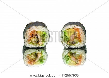 rolls with avocado cucumber chicken and smoked eel on white background. horizontal photo.