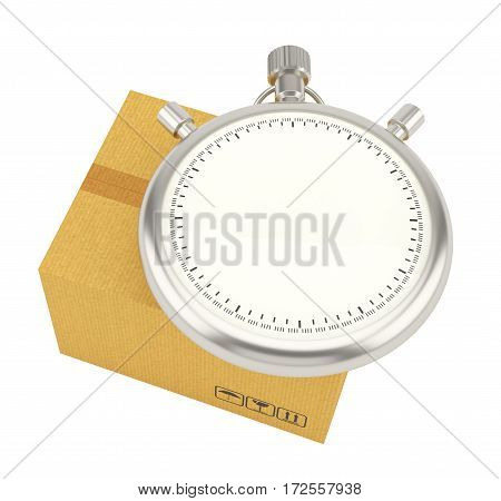 Stopwatch on background of cardboard box. 3D Rendering. Stopwatch with empty space for your content