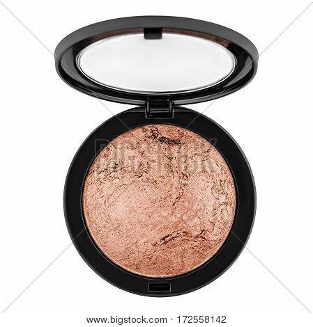 brown bronzer, powder, isolated on white background