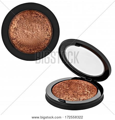 brown bronzer, powder, isolated on white background