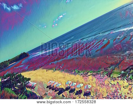 Beach with umbrellas and sea Digital illustration. Seaside view from air. Drone photo of perfect white sand beach with umbrellas. Fantastic beach landscape. Ocean panorama with huge waves for surfing