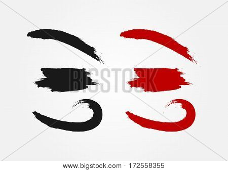 Set of grunge elements painted with a brush. Curved lines. Black and red color option.
