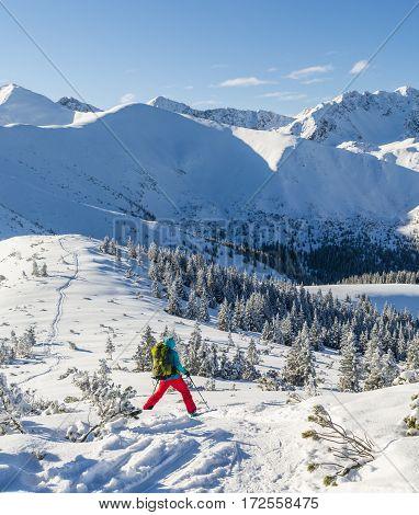 Girl Descend On Skis.