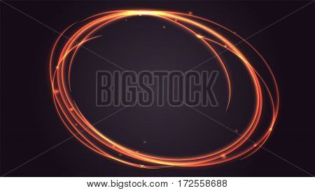 Abstract ring background with luminous swirling sparkle. Glowing spiral.
