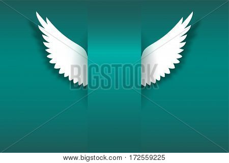 Artificial paper wings, soaring wings. Card with angel wings and place for your message. Card for your creativity