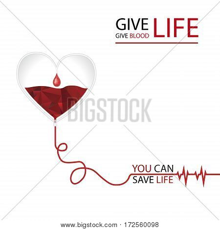 Blood donation day concept. Vector illustration in triangle style.