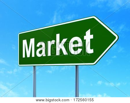 Marketing concept: Market on green road highway sign, clear blue sky background, 3D rendering