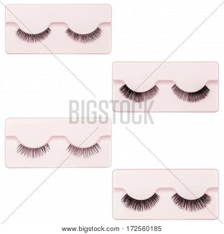 A set of false eyelashes, black eyelashes, isolated on white background
