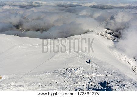 Tourist At Winter Ridge.