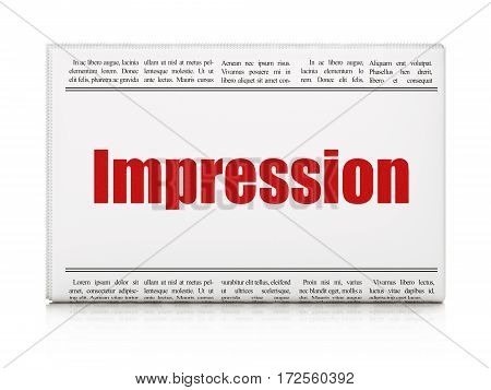 Advertising concept: newspaper headline Impression on White background, 3D rendering
