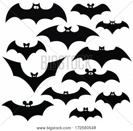 Cartoon set of black silhouettes of bats vector