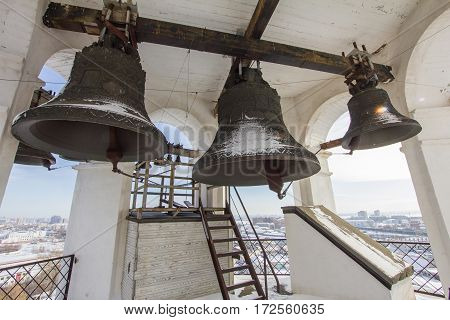 Kazan, Russia, 9 february 2017, bell tower in Zilant monastery - famous orthodox place, sunny winter day, close up