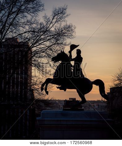 Silhouette of Andrew Jackson in Nashville Tennessee