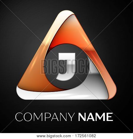 Letter J vector logo symbol in the colorful triangle on black background. Vector template for your design