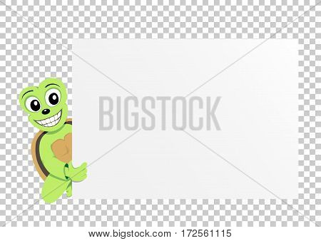 Animal turtle which holds clear white template banner poster or paper for graphic and text messages on transparent background