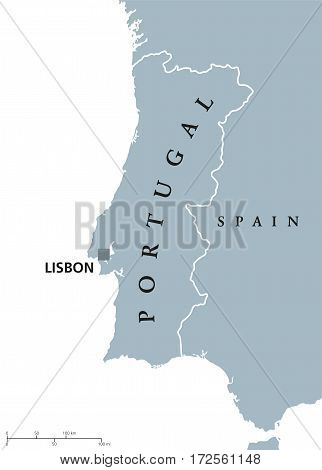 Portugal political map with capital Lisbon and neighbor countries. Republic on the Iberian Peninsula in Southwestern Europe. Gray illustration with English labeling on white background. Vector.