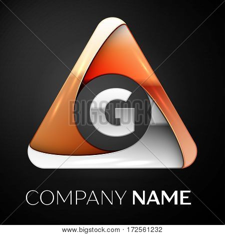 Letter G vector logo symbol in the colorful triangle on black background. Vector template for your design
