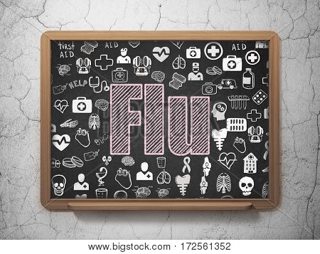 Healthcare concept: Chalk Pink text Flu on School board background with  Hand Drawn Medicine Icons, 3D Rendering