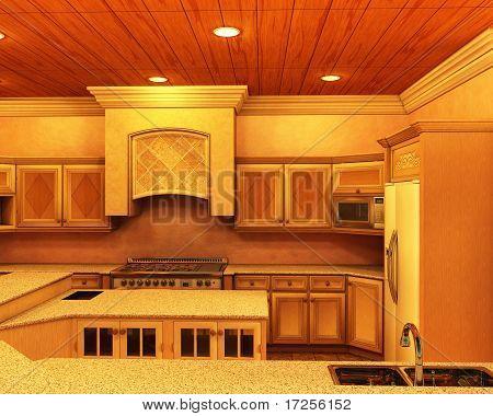 Modern Designer Kitchen with Soft Lighting